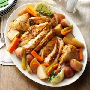 Slow-Roasted Chicken with Vegetables Recipe