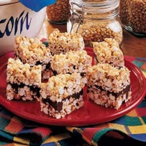 Ribbon-O-Fudge Popcorn Bars Recipe