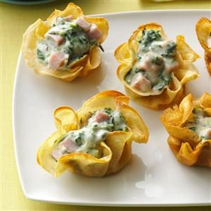 Ham-Spinach Crepe Cups Recipe