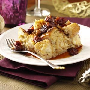 White Chocolate Bread Pudding with Tart Cherry Sauce