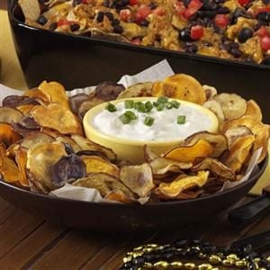 Rainbow Potato Chips with Creamy Onion Dip Recipe