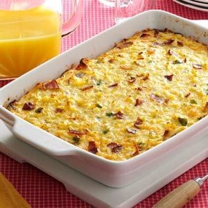 Cheesy Hash Brown Egg Casserole with Bacon Recipe