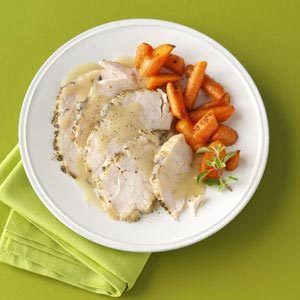 Moist Turkey Breast with White Wine Gravy