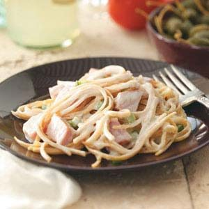 Makeover Linguine with Ham & Swiss Cheese