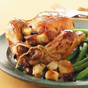 Honey-Glazed Hens with Fruit Stuffing for Two Recipe