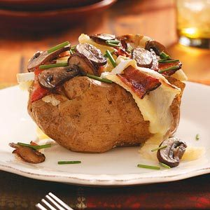 Bacon, Cremini & Brie Potatoes for Two Recipe
