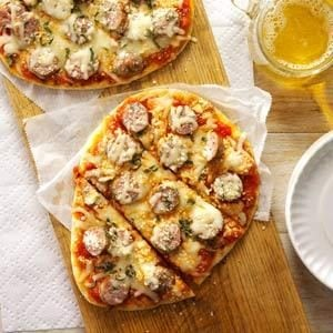 Grilled Sausage-Basil Pizzas Recipe