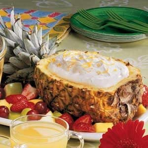 Pineapple Boat with Fluffy Fruit Dip Recipe