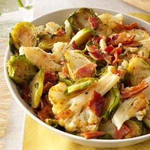 Roasted Cauliflower & Brussels Sprouts with Bacon Recipe
