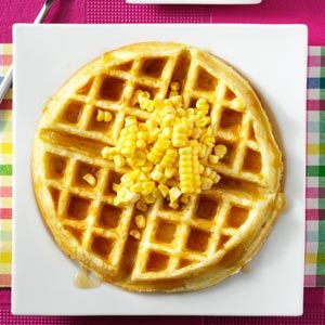 Corn Fritter Waffles with Spicy Maple Syrup Recipe photo by Taste of ...