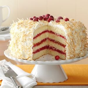 Cranberry Coconut Cake with Marshmallow Cream Frosting Recipe