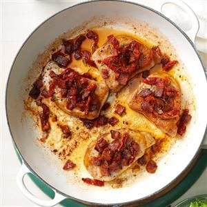 Pork Chops with Tomato-Bacon Topping Recipe