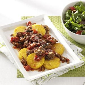 Polenta Rounds with Sausage Ragout Recipe