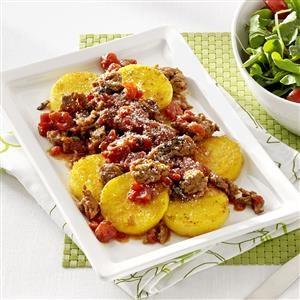 Polenta Rounds with Sausage Ragout Recipe