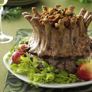 Crown Roast with Plum-Apple Stuffing Recipe