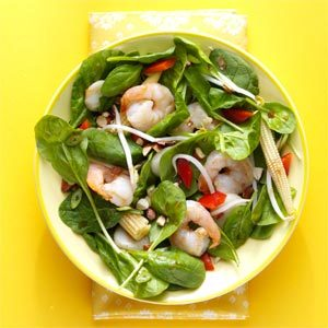 Warm Szechuan Shrimp and Spinach Salad