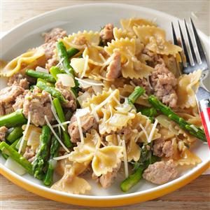 Bow Ties with Sausage & Asparagus