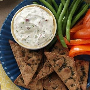Chive Mascarpone Dip with Herbed Pita Chips