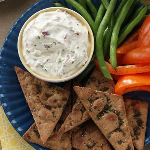 Chive Mascarpone Dip with Herbed Pita Chips Recipe