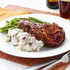 Soda Pop Chops with Smashed Potatoes Recipe