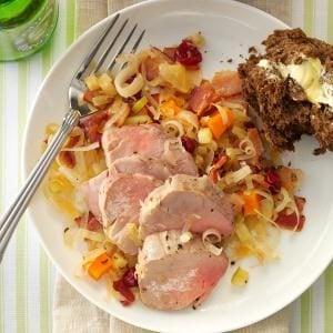 Pork Tenderloin with Cran-Apple Sauerkraut