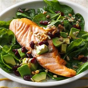 Salmon & Spinach Salad with Avocado Recipe