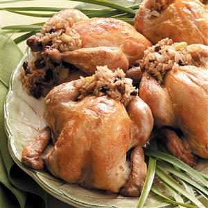 Cornish Hens Stuffed with Rice