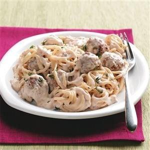 Stroganoff-Style Spaghetti 'n' Meatballs