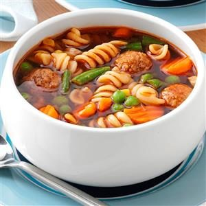 Veggie Meatball Soup for 3 Recipe