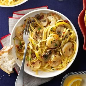 Lemony Shrimp & Mushroom Linguine Recipe
