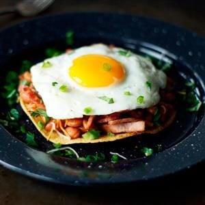 Canadian Bacon Breakfast Tostada