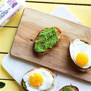 Pea Pesto Open-Faced Sandwiches Recipe