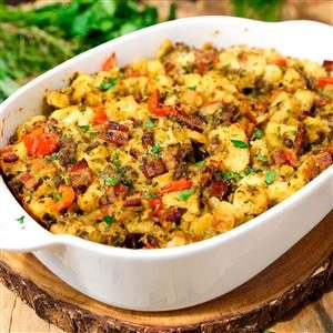 Traditional Herb Stuffing with Bacon and Sausage Recipe