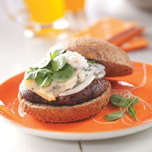 Portobello Burgers with Pear-Walnut Mayonnaise Recipe