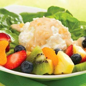 Fruit and Cottage Cheese with Creamy Peanut Butter Dressing