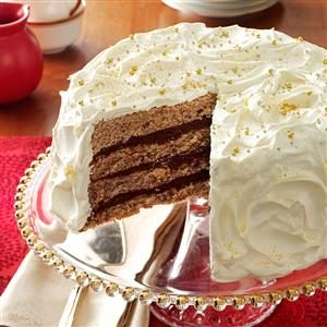 Gilded Mocha-Walnut Layer Cake Recipe