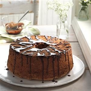 Glazed Chocolate Angel Food Cake Recipe