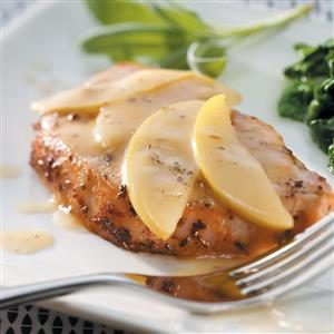 Glazed Pork Chops and  Apples