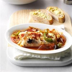 Greek fish bake recipe taste of home for Greek fish recipes