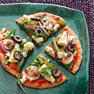 Greek Pita Veggie Pizzas Recipe