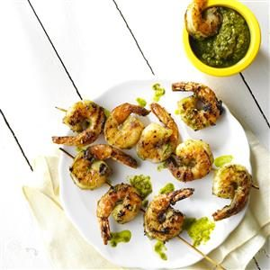 Grilled Pistachio-Lemon Pesto Shrimp Recipe