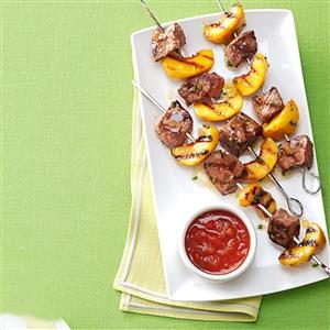 Grilled Sirloin Kabobs with Peach Salsa Recipe