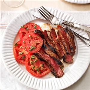 Grilled Steaks with Marinated Tomatoes Recipe