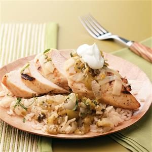 Grilled Tomatillo Chicken for Two Recipe