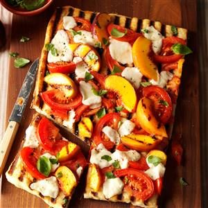 Grilled Tomato-Peach Pizza Recipe