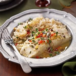 Halibut with Citrus-Olive Sauce