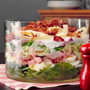 Ham and Swiss Layered Salad Recipe