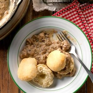 Herbed Sausage Gravy Over Cheese Biscuits Recipe