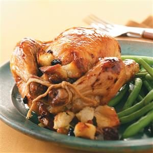 Honey-Glazed Hens with Fruit Stuffing Recipe
