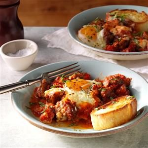 Italian Baked Eggs & Sausage Recipe